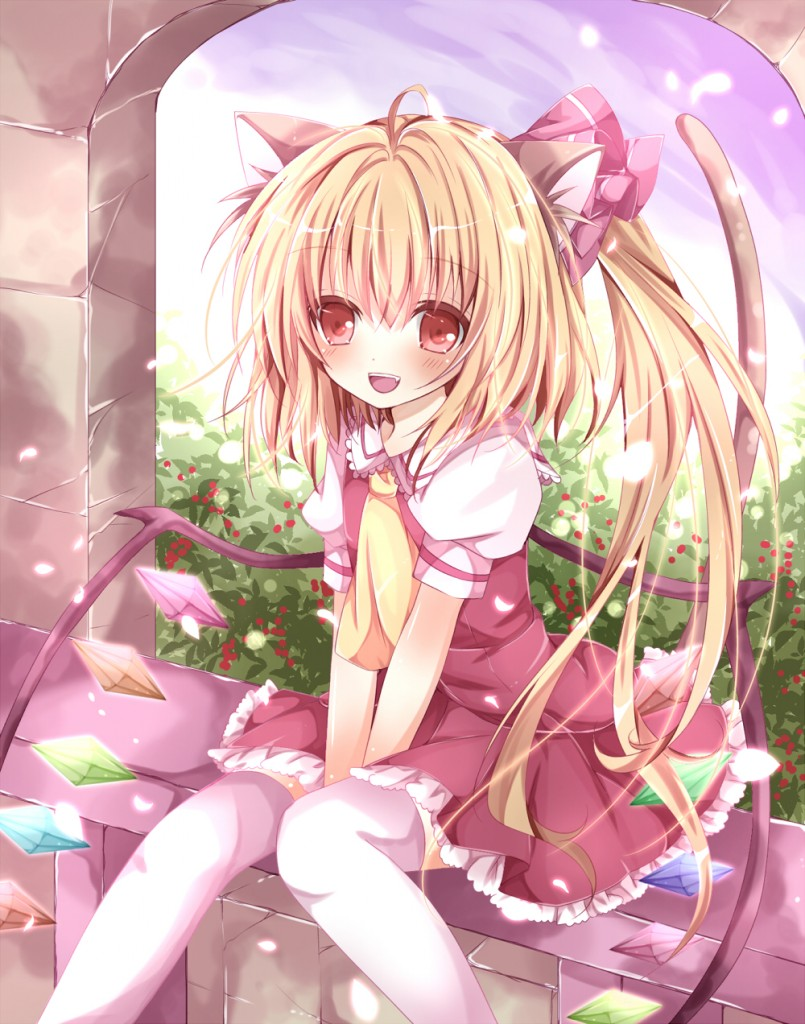 yande.re 214182 animal_ears flandre_scarlet nanase_nao nekomimi tail thighhighs touhou wings